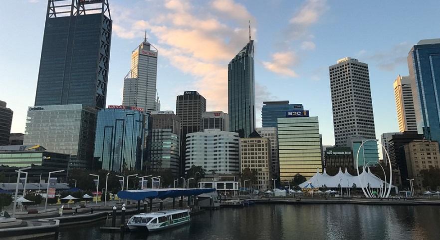 skyline of perth city australia